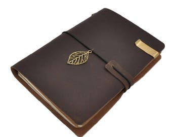 Brown Leather Midori Style Traveler's Notebook Set, Refillable Leather Notebook Journal - PJ003