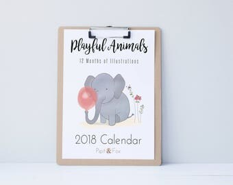Wall calendar 2018 | Etsy
