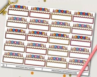 Birthday Planner Stickers | Birthday Reminders | Birthday Cake | Birthday Half Boxes Stickers
