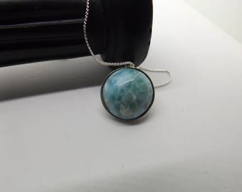 18 mm Natural Dominican Republic Larimar Pendant