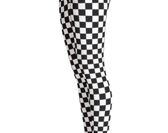 Checkered Leggings - Checkerd Print Leggings - Yoga Leggings - Patterned Leggings - Print Leggings - Womens Leggings - Christmas Gift