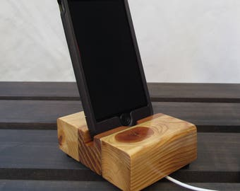 Rustic docking stand, iphone 4 stand, iphone 5 stand, charging station, iphone dock, ipod dock, wood phone stand, docking station, charger.