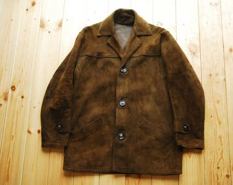 "Rare 1960's British Lewis Leather Aviakit Brown Suede Men's Jacket 34"" Extra Small"