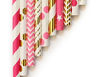 10 Pink And Gold Foil Paper Straws ~ 1st Birthday ~ Hen Party Paper Straws ~ Bridal Shower Paper Straws ~ Pink And Gold Paper Straw Mix ~