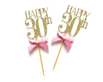 x8 Happy 30th Birthday Cupcake Toppers ~ Gold Glitter 30th Cake Toppers ~ Pink & Gold 30th ~ Happy 30th Toppers ~ Birthday Party Decorations