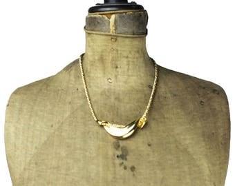 Trifari Chunky Gold Bib Necklace, Trifari Gold Necklace, Trifari Gold Chain Necklace, Gold Chain Bib Necklace