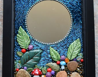 Beaded Mosaic Mirror ~ Mosaic Wall Art ~ Mixed Media Mosaic ~ Woodland Mosaic Mirror ~ Bead Mosaic ~ Gift Mirror