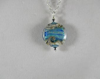 ocean wave beach necklace, lampwork wave necklace, ocean wave jewelry, ocean beach necklace with wave, her beach necklace wife, beach gift