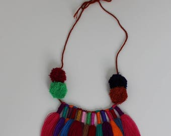 Pom pom Necklace/Tassel Necklace/Mexican Necklace