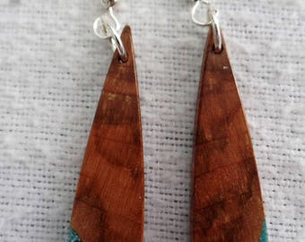 Maple Burl Earrings with Turquoise inlace with Sterling Silver Ear wires and Findings JER143SS