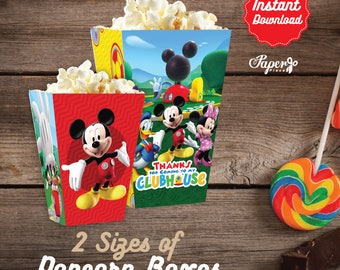 Clubhouse Popcorn Box, Printable Mickey Mouse Clubhouse Popcorn Boxes, Clubhouse Birthday decoration, instant download, Mickey Mouse Label