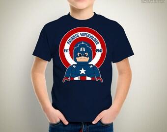KIDS - Patriotic Supersoldier Lego T-Shirt/Onesie