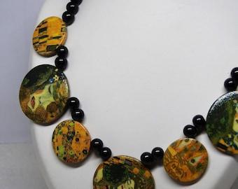 "Choker Klimt, ""the Kiss"", necklace beads round Klimt pattern"