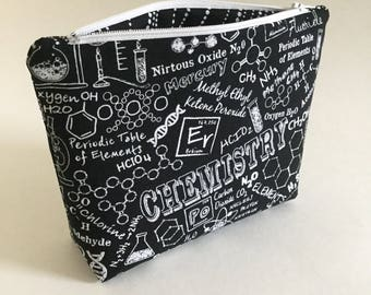 Chemistry Bag / Makeup Bag / Zipper Bag / Bag / Gift / Science / STEM / Teacher / Periodic Table / Pouch / Atom / DNA / Molecule / Proton