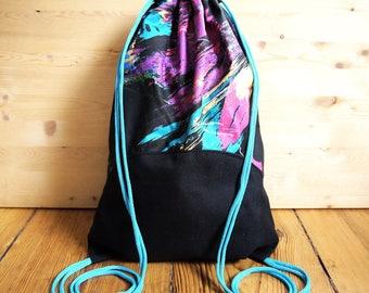 80s Print Drawstring Bag Backpack