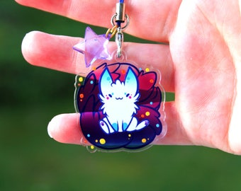 Luna the Night Kitsune - Acrylic Charm 1.5 Doublesided Furry Fox Keychain Cellphone Strap