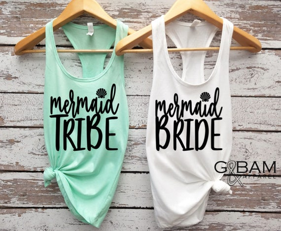 Mermaid Bride / Mermaid Tribe / Bride tank top / Tribe tank top /  Bridal Party Tank tops / Bridesmaid Tank / Maid of Honor Tank
