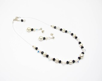 Wedding necklace Crystal Necklace, swarovski ivory pearls and black for wedding or party, wedding set