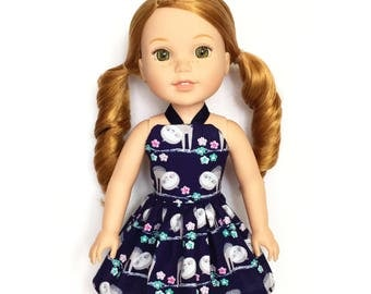 Halter Dress, Slouth, Navy Blue, White, Pink, Gray, 14.5, Fits dolls such as AG, Wellie Wishers, 14 inch Doll Clothes