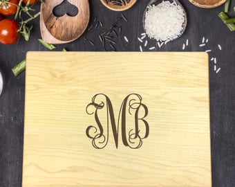 Monogram Cutting Board, Custom Cutting Board, Personalized Cutting Board, Cutting Board Wedding Gift, Engraved Board,  B-0061 Rec