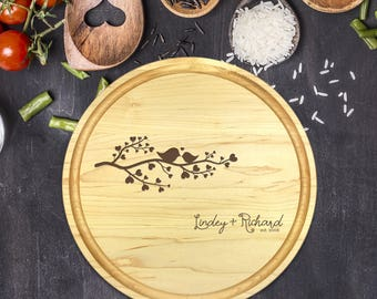 Personalized Cutting Board Round, Cutting Board Personalized, Wedding Gift, Housewarming Gift, Anniversary Gift, Love Birds, Names, B-0051