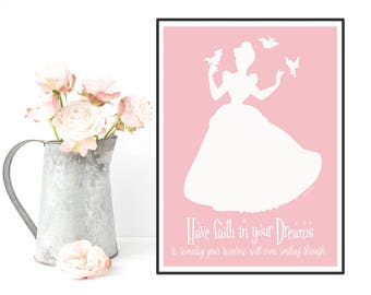Disney princess, Cinderella princess poster, Disney print, Disney quote, Girl room decor, Room art girl, Nursery print, Disney girl gift