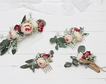 Blush pink burgundy eucalyptus flower comb Floral accessories Wedding comb Bridal headpiece Boutonniere Bridesmaid Boho Outdoor Groom