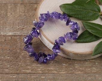 AMETHYST Chip Bracelet - Amethyst Stone, Amethyst Jewelry, Amethyst Crystal, Amethyst Gemstone Bracelet, Amethyst Stretch Bracelet E0625