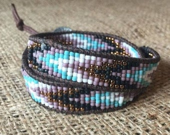 Wrap Bracelet with button closure, adjustable length, mosaic inspired