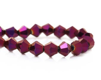 """50 beads in the shape of """"Purple reflection"""" tops 6mm glass / Perle Bicone"""