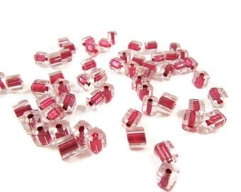 45 clear glass Cube shaped beads and pink 4mm