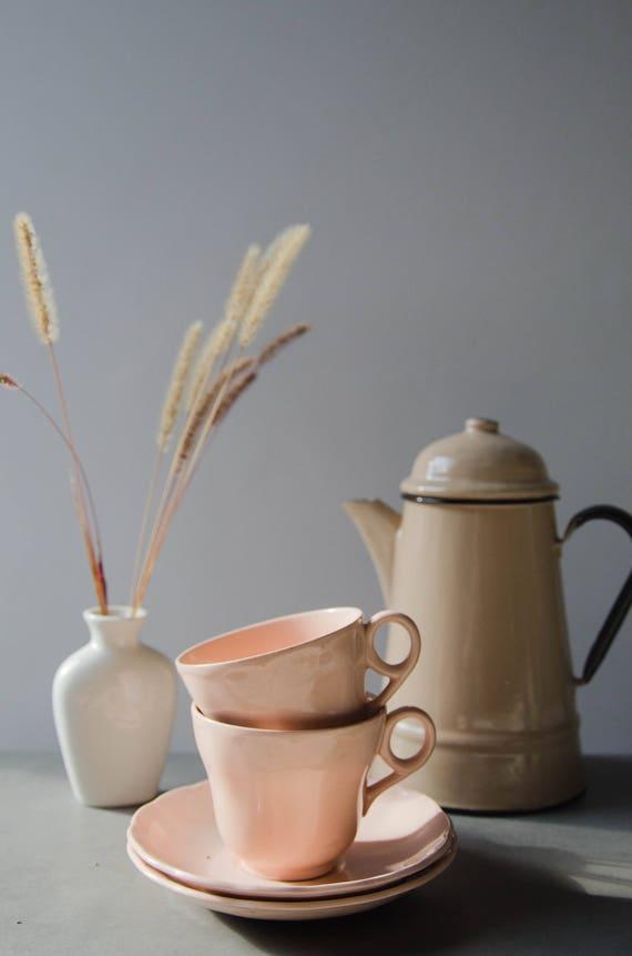 Vintage ceramic mugs. Pink porcelaine. Pale pink