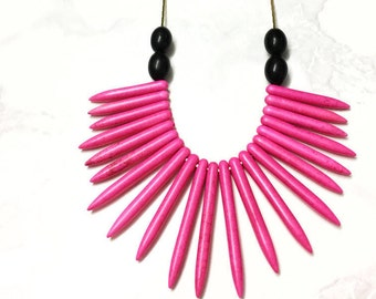 Heili Necklace- Long Howlite stone necklace /Long necklace/ Pink necklace / Colorful necklace /Spike necklace/ Pink jewelry