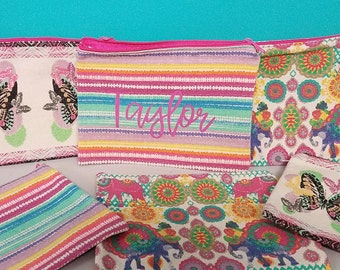 Personalized canvas cosmetic bag or pencil case!  8 X 6 inches.  Personalization included
