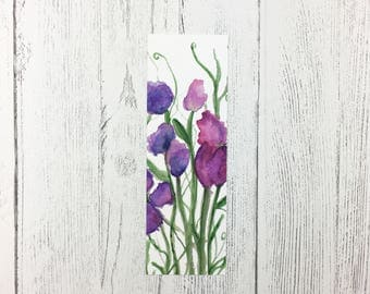Sweet Pea Bookmark / Mothers Day Gift / Book Lover Gift / Gifts For Her / Floral Gift / Easter Gift / Small Birthday Gift / Flower Bookmark