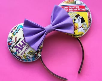 Vintage Disney Poster Mouse Ears, Alice in Wonderland Mouse Ears, 101 Dalmatian Mouse Ears