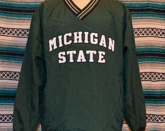 Michigan State Spartans Champion Pull Over Jacket Large Green