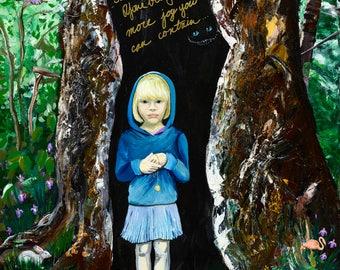 Dark Alice Original Mixed Media Canvas Painting