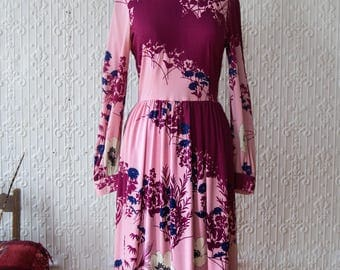 70s Hanae Mori Pleated Floral Dress