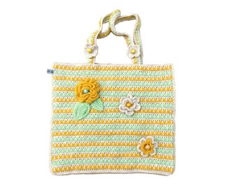 tote bag decorated with hand-made summer flowers