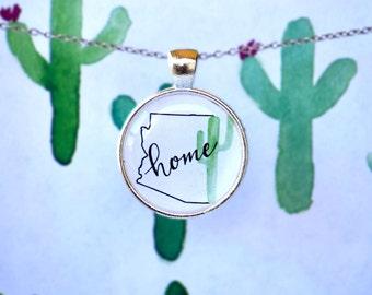 Arizona Home Necklace - Arizona Necklace - Arizona Jewelry - Cactus Jewelry - Cactus Necklace - Desert Jewelry - Cactus Painting - Arizona