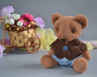 Teddy bear Sewn toys READY TO SHIP Soft bear toy Collectible bears Handmade Christmas gift Plush bear in clothes Fiber art miniature animal