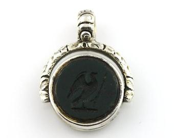 Antique Georgian Silver Swivel Fob Pendant with Beautiful Intaglio Seal- c.1820