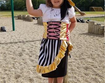 Pirate Costume, Black and White Pirate, Pirate Halloween, Pirate Birthday, Girls Pirate, Toddler Pirate