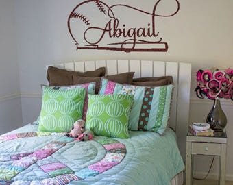 Softball Wall Decal Etsy - Custom vinyl baseball decals