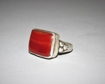 Antique agate silver ring