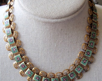 Brass and Enameled Necklace and Earrings