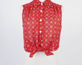 Graphic Print Pleated Sleeveless Red Vintage Women Blouse Size M