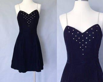 vintage rhinestone dress/ velvet dress/ formal dress/ prom dress/ little black dress/ women's size S/M