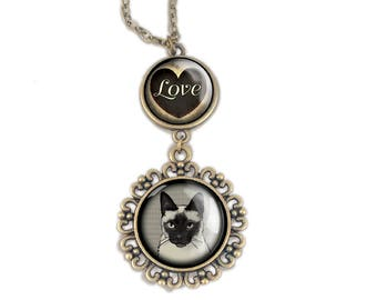 Siamese Cat Love pendant necklace